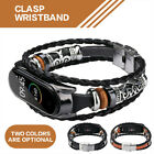 For Xiaomi Mi Band 3 4 Smart Bracelet Leather Weave Strap Braided Watch Band image