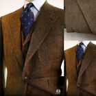 Brown Men Suits Wool Blend Herringbon Vintage Tweed Formal Tuxedos Blazer Pants