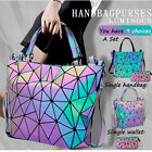 Women's Geometric Handbags Holographic Luminous Wallet or Handbag Zipper Closure