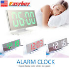 Silent Bedside Snooze Alarm Clock Large Screen Mirror Night LED Digital Clock
