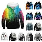 Kids Boys Casual 3D Printed Hooded Hoodie Baggy Loose Sweatshirt Pullover Tops
