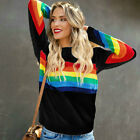 Women Rainbow Stripe Jumper Sweater Top Long Sleeve Loose Casual Pullover Shirt
