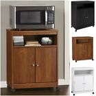 Black White Brown Wooden Mobile Microwave Cart Storage Cabinet Kitchen Shelf New