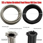 Braided Nylon Stainless Steel Fuel Line Oil Gas Turbo Pipe Vacuum Hose AN 6 8 10