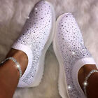 Women Shiny Glitter Trainers Sneakers Fashion Sequin Slip On Casual Pumps Shoes