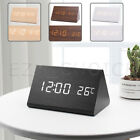 Wooden Digital Alarm Clock Led Display Desk Table Temperature Modern Home Decor