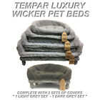 New Grey Wicker Pet Sofa Bed Cat Dog Puppy Raised Couch Basket Fleece Cushion ++