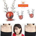 Christmas Theme Deer Crystal Earrings Pendant With Chain Necklace Jewellery Set