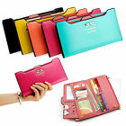 Women's Long Leather Thin Wallet Cute Bow Purse Girl Multi ID Credit Card Holder