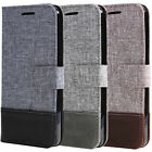 Canvas Leather Magnetic Wallet Card Flip Case Cover For Samsung Galaxy Phone