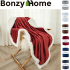 Sherpa Faux Fur& Flannel Queen/Twin/Throw Blanket in 6 Colors Cozy Bed Blanket image