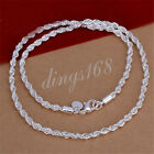 18K White Gold Filled Hypo-Allergenic 4mm thick 20 inch Rope Chain Necklace image