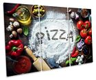 Pizza Kitchen Ingredients Print TREBLE CANVAS WALL ART Picture Multi-Coloured