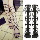 Women Summer Roman Gladiator Strappy Knee High Sandals Flat Boots Lace Up Shoes