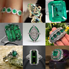 Chic Women 925 Silver Natural Emerald Gemstone Wedding Engagement Ring Size 5-12