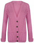 Women's Cable Knitted Long Sleeve Grandad Cardigan Jumper Top