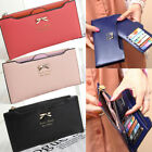 Women Leather Bifold Wallet Thin Wallet Bow Purse Credit Card Holder Xmas Gift