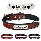 Leather Personalised Dog Collar Pet Engraved ID Tag Nameplate Small Medium Large