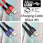 3Pk 3Ft Micro USB Charger Cable Fast Charging Cord For Samsung Android LG Phone