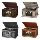 6-in-1 Bluetooth Radio Classic CD Cassette Record Retro Music Player w/ Speakers