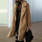 Ladies Long Teddy Bear Knee Coat Warm Vintage Faux Fur Jacket Lapel Outwear UK