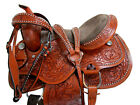 COMFY TRAIL WESTERN SADDLE HORSE TACK SHOW PLEASURE FLORAL TOOLED LEATHER 15 16