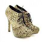 Womens Sexy Lace up Boots Ankle Booties Party Leopard Dancing Stiletto Shoes UK