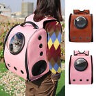 Leather Dog Cat Backpack Portable Pet Carrier Outdoor Travel Bag Bubble Window