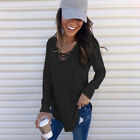 Women Strappy Long Sleeve V Neck Loose Tunic Clothing T Shirt Casual Blouse Tops