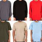 Heavy T Shirt Men Heavyweight Thick Long Sleeve Solid Crew Neck Cotton Tee Pack image
