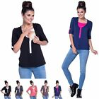 Happy Mama. Women's Nursing Top Layered Neck Turn-up Sleeves Breastfeeding. 161p
