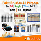 Art Brushes For Acrylic Oil Watercolor Paint Detail Canvas Painting lot Kit Case