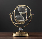 Brass-tone 15/30-minute Rotating Vintage Sand Metal Hourglass Home Office Decor