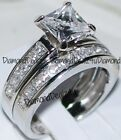 Princess cut Diamond Engagement Ring Bridal Band Set 14k White Gold