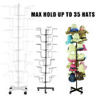 7 Tier Metal Hat Cap Rack Hanger Display Stand Rotating with 4 Wheel white&black