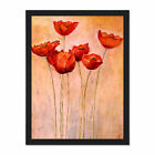 Flower+Red+Poppies+Painting+Framed+Wall+Art+Print+18X24+In