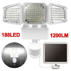 2XSolar Lights Outdoor PIR Motion Sensor 188LED 1200Lm Solar Lights Weatherproof