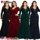 Plus Size Long Elegant Sparkle Mermaid V-neck Velvet Long Sleeve Evening Dresses
