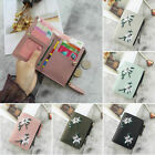 Women Short Leather Wallet Bifold Embroidery Zipper Card Holder Mini Purse US image