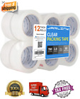 12 Rolls Clear Packing Packaging Carton Sealing Tape 2 x 60/65 Yards Tape Us New