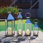Large Metal Glass Hurricane Lantern Pillar Candle Tea Light Holder Wedding Decor