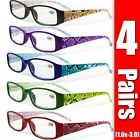 Kyпить 4 Pairs Mens Womens Unisex Spring Hinge Rectangular Reading Reader Glasses 1-3 на еВаy.соm