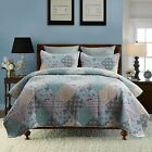 3-Piece Blooming Floral Authentic Patchwork Quilt Set Reversible Bedspreads  image