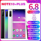 6.8'' Note10+plus Unlocked Smartphone 6+128g Android 9.1 Hd Dual Sim Mobile 4g