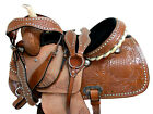 PRO WESTERN 15 16 BARREL RACING SADDLE FLORAL TOOLED LEATHER SILVER STUDDED TACK