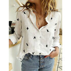 Women Cotton Linen Birds Print Tops Blouse Ladies Buttons T-Shirt Plus Size 6-22