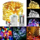 50-100 Leds Battery Operated Mini Led Copper Wire String Fairy Lights W/ Remote