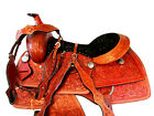 RANCH SADDLE WESTERN HORSE PLEASURE FLORAL TOOLED LEATHER ROPING TACK SET 16 17