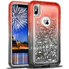 For iPhone X XR XS Max Defender Liquid Glitter Shockproof Protective Case Cover