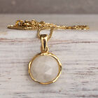 14K Solid Yellow Gold Round 12mm Moonstone Handmade Pendant - Sale